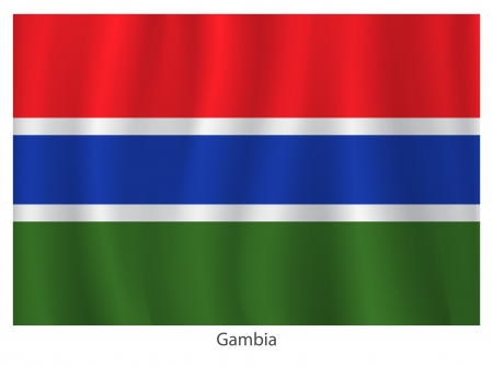 flagging: Gambia flag with title on the white background Illustration