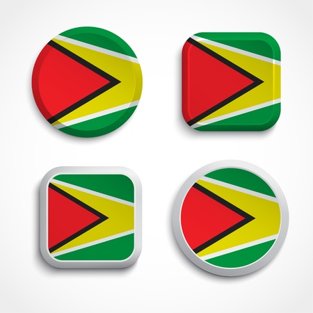 guyanese: Guyana flag buttons set on the white background Illustration