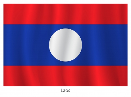 Laos flag with title on the white background Vector