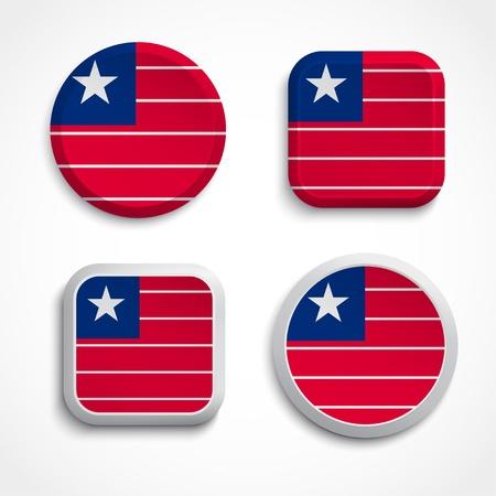 liberia: Liberia flag buttons set on the white background Illustration