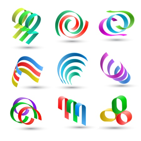 Set of abstract colorful lines icons Vector