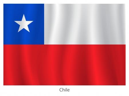 bandera de chile: Bandera de Chile con los títulos en el fondo blanco, ilustración vectorial Vectores