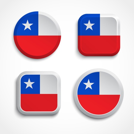 Chile flag buttons set on the white background, vector illustration Vector
