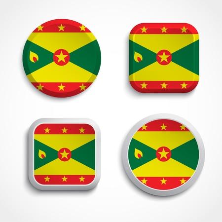 grenada: Grenada flag buttons set on the white background, vector illustration