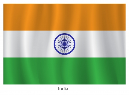 india flag: Ýndia flag with titles on the white background Illustration