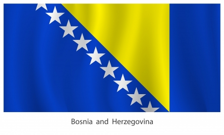 bosnia: Bosnia and Herzegovina flag with titles on the white background
