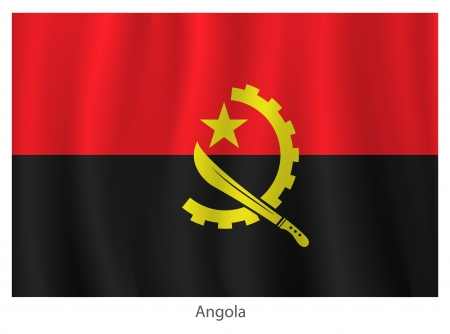 Angola flag with title on the white background Illustration
