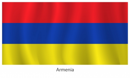 headed: Armenia flag with title on the white background Illustration