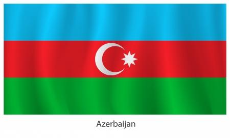 azerbaijan: Azerbaijan flag with title on the white background
