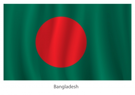 bangladesh: Bangladesh flag with title on the white background