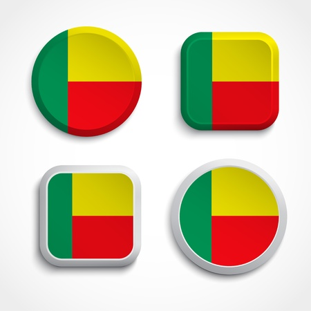 Benin flag buttons set on the white background, vector illustrations Stock Vector - 21041713