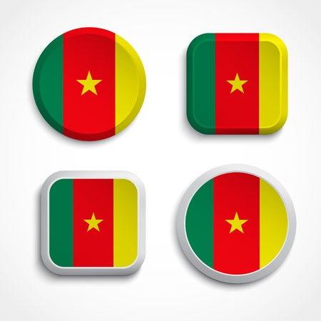 Cameroon flag buttons  set on the white background, vector illustrations Vector