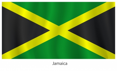 Jamaica flag with titles on the white background, vector illustration Vector