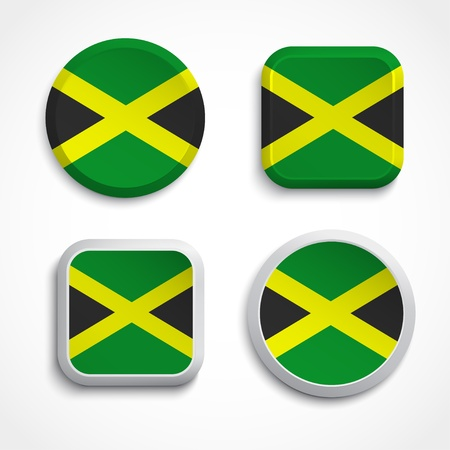 jamaican flag: Jamaica flag buttons set on the white background, vector illustrations Illustration