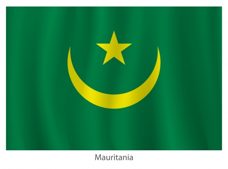 Mauritania flag with titles on the white background, vector illustration Stock Vector - 21051005