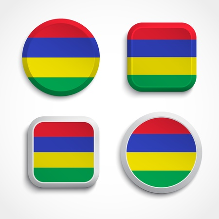 mauritius: Mauritius flag buttons set on the white background, vector illustrations Illustration