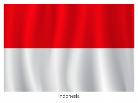 indonesian: Indonesia flag with titles on the white background, vector illustration Illustration