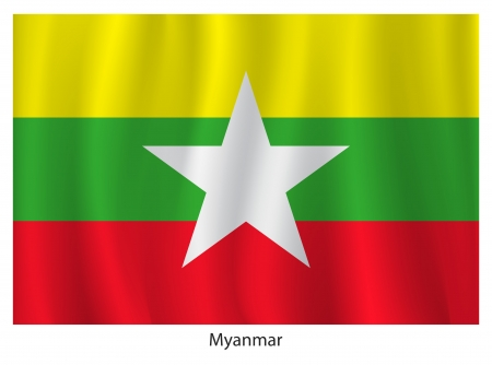 myanmar: Myanmar flag with titles on the white background, vector illustration Illustration