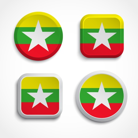 myanmar: Myanmar flag buttons set on the white background, vector illustrations Illustration