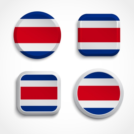 costa rica: Costa Rica buttons set on the white background, vector illustrations