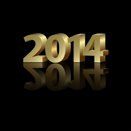 2014 New Year golden number on the black background, vector illustration Vector