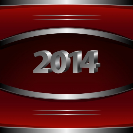 2014 New Year abstract background with metallic elements, vector illustration Vector