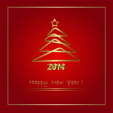 2014 New Year abstract background with golden Christmas tree, vector illustration Vector