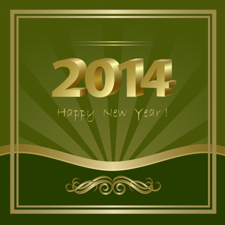 2014 New Year abstract background with golden elements, vector illustration Vector