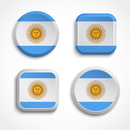 Argentina flag buttons, vector illustration Vector