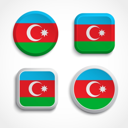 azerbaijani: Azerbaijan flag buttons, vector illustration