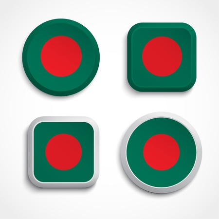 Bangladesh flag buttons, vector illustration Vector