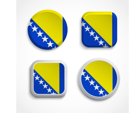 Bosnia and Herzegovina flag buttons, vector illustration Vector