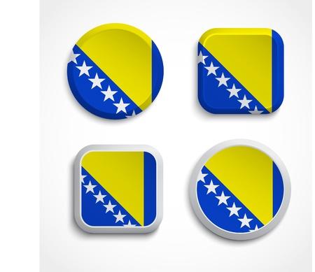 herzegovina: Bosnia and Herzegovina flag buttons, vector illustration