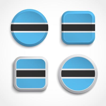 botswana: Botswana flag buttons, vector illustration