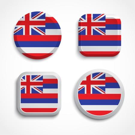 Hawaii flag buttons, vector illustration Illustration