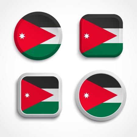 jordan: Jordan flag buttons, vector illustration