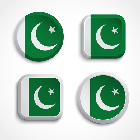 pakistan flag: Pakistan flag buttons, vector illustration Illustration