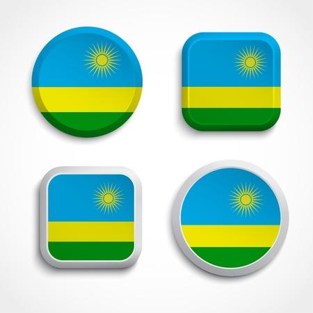 rwanda: Rwanda flag buttons, vector illustration