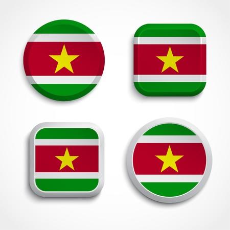 suriname: Suriname flag buttons, vector illustration Illustration