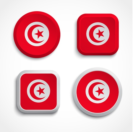 Tunisia flag buttons, vector illustration Vector