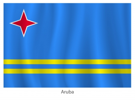 aruba flag: Aruba flag with title on the white background, vector illustration Illustration