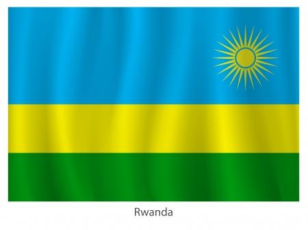 rwanda: Rwanda flag  with title on the white background, vector illustration Illustration