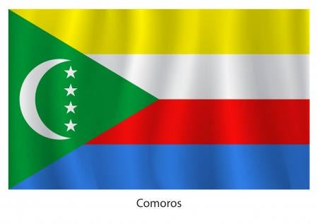 comoros: Comoros flag with title on the white background
