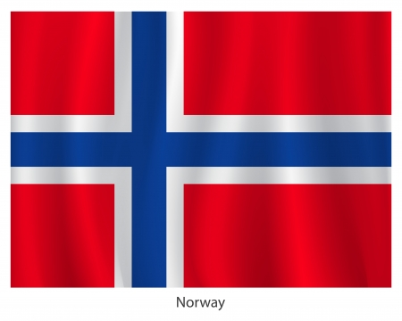 norwegian flag: Norway flag with title on the white background