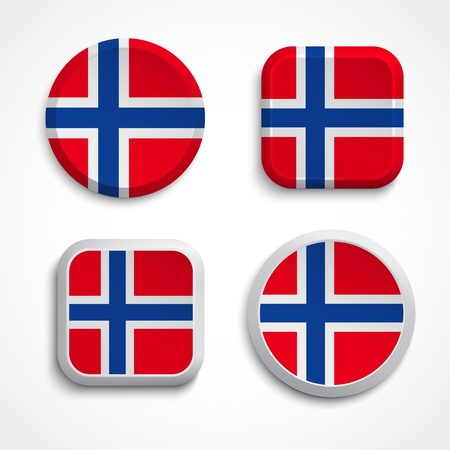 norwegian flag: Norway flag buttons set on the white background