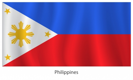 Philippines flag with title on the white background