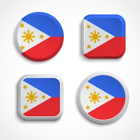 filipino: Philippines flag buttons set on the white background