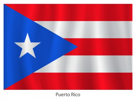 bandera de puerto rico: Bandera de Puerto Rico con el título en el fondo blanco Vectores
