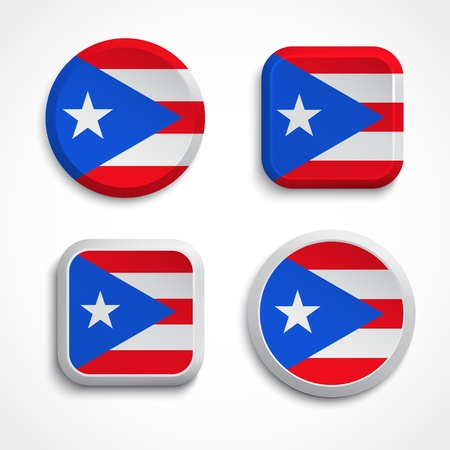puerto rican flag: Puerto Rico flag buttons set Illustration