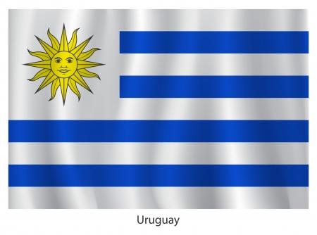 bandera de uruguay: Bandera de Uruguay con el título en el fondo blanco Vectores